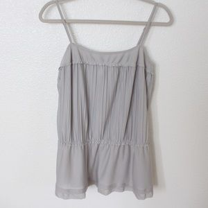 H&M Light Gray Pleated Tank Top Blouse - Size S
